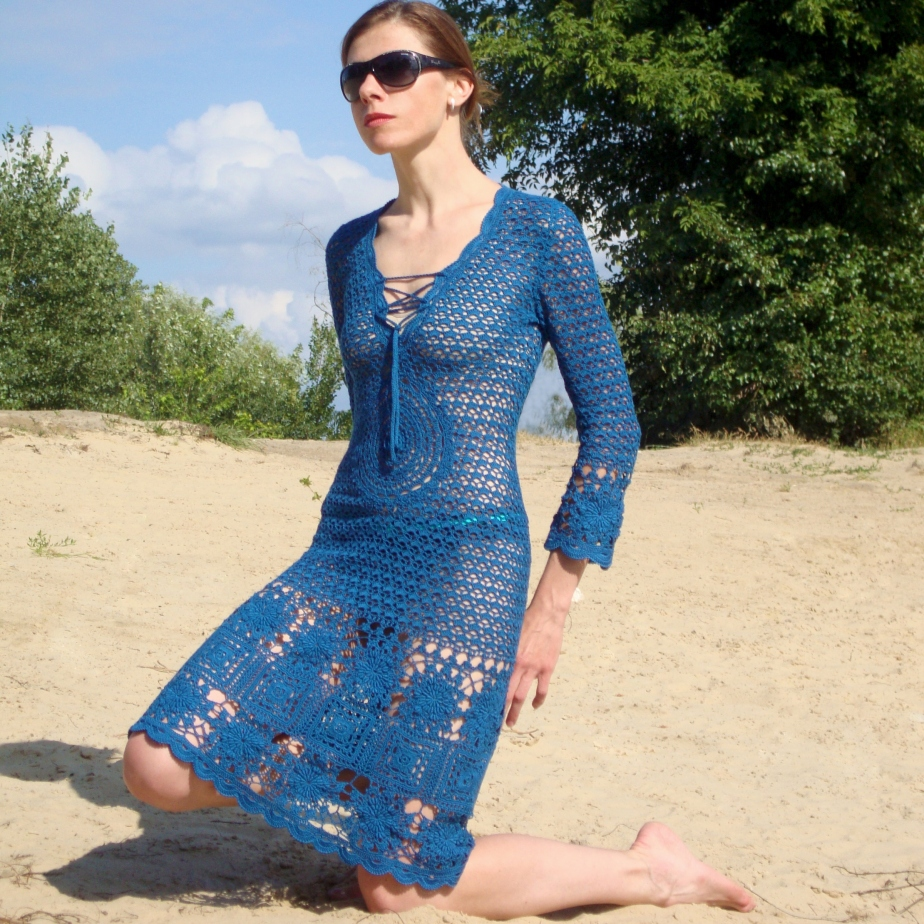 Designer dress with Bullion Crochet Stitch