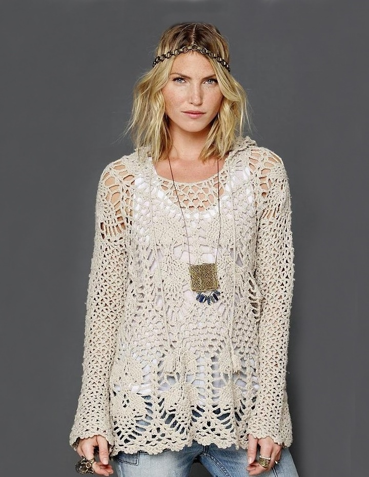 Crochet Tunic Pattern Hoodie By Free People
