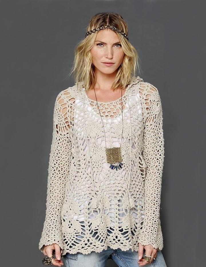Crochet tunic PATTERN – hoodie by FreePeople