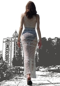 Shetland lace dress pattern. The floor-length design offers bohemian elegance. It's ideal for all your summer events – whether they're during the day of after dark (with a underlay). It looks wonderful with a bikini - you will get lots of admiring glances on a beach resort!