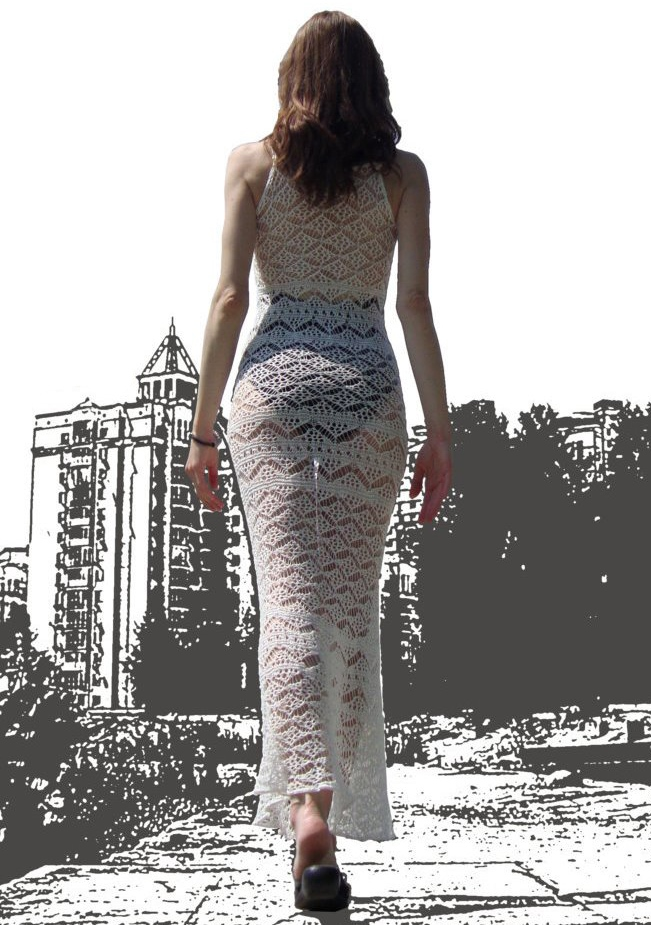 Knit DRESS for hot summer – detailed PATTERN for Shetland lace dress