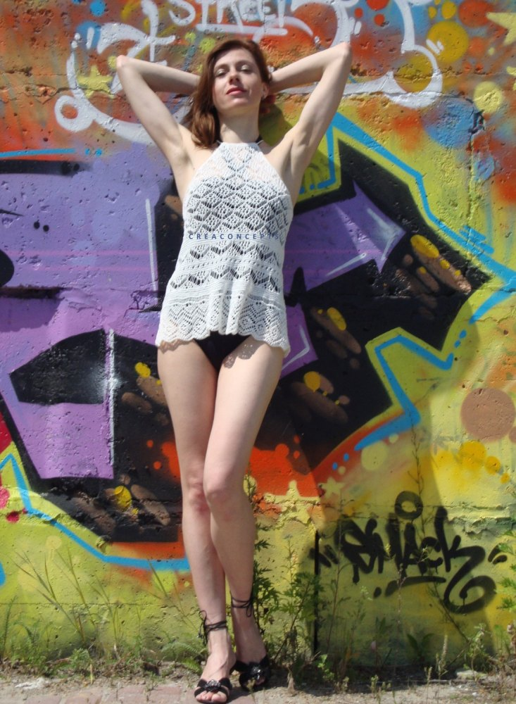Knit TOP for hot summer. Detailed pattern for Shetland lace top. (6/6)