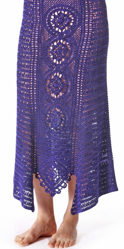 Crochet SKIRT with central panel in front and back – PATTERN