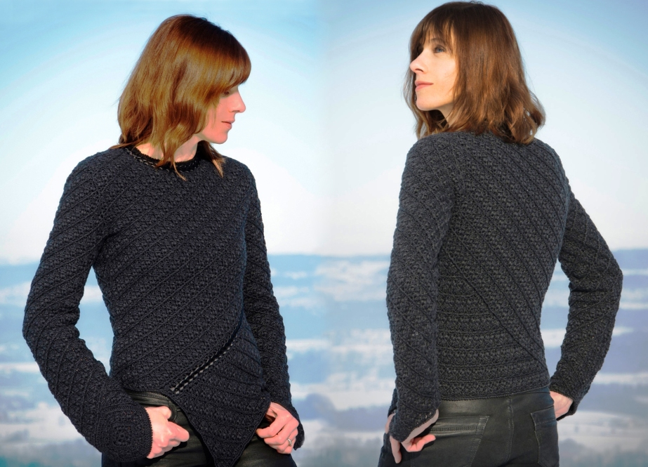 Geometry in crochet – pullover with asymmetric scalloped edge – PATTERN