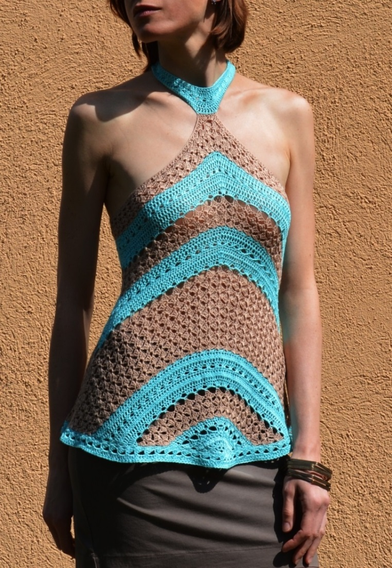 Geometry in crochet – Top with triangle and diagonals – PATTERN