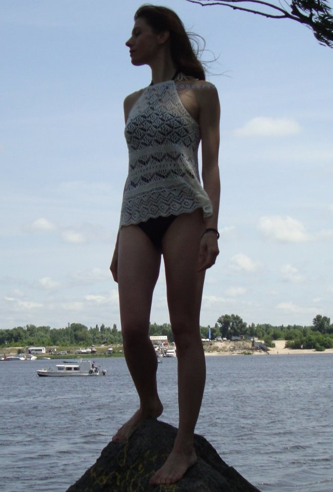 Knit TOP for hot summer. Detailed pattern for Shetland lace top. (4/6)