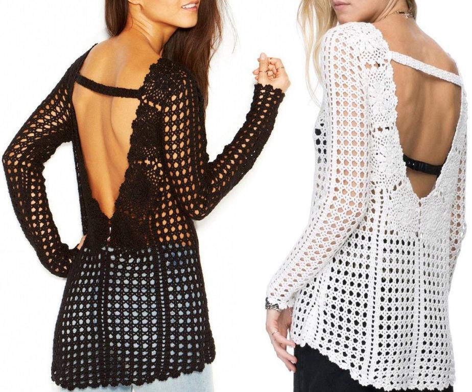 Crochet open back tunic –PATTERN