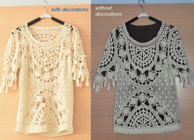 This tunic crochet pattern is provided for sizes S-M-L with bust circumference 89-100 cm (35-39.5''). I have included suggestions on how big should be your gauge if you like to crochet this garment for sizes XL-2XL.
