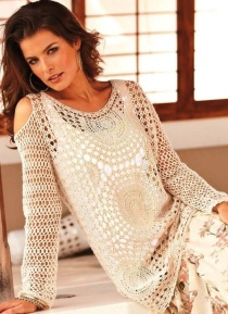 Boho crochet tunic PATTERN for sizes XS-3XL, detailed TUTORIAL in English