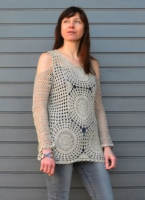Boho crochet tunic PATTERN for sizes XS-3XL