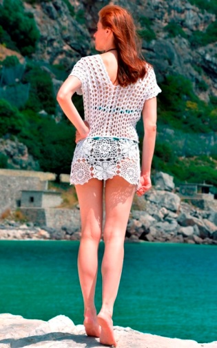 Beach crochet tunic PATTERN Airiness for sizes S/M, M/L, XL