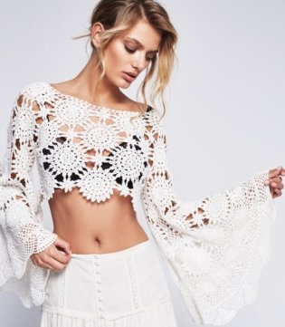 No YARN Breaking! Trendy crochet cropped top PATTERN, detailed TUTORIAL in English for every row, Angel sleeves designer crochet top pattern.