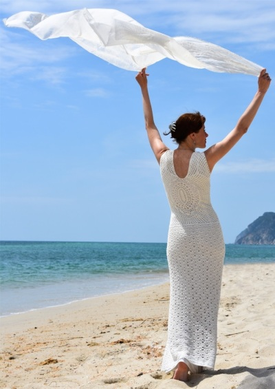 Beach wedding crochet dress PATTERN, crochet TUTORIAL for every row in English, PDF instant download, crochet beach wedding dress tutorial