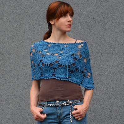 Crochet poncho PATTERN for sizes S-2XL