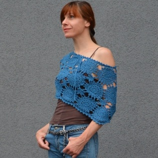 Crochet poncho PATTERN for sizes S-2XL