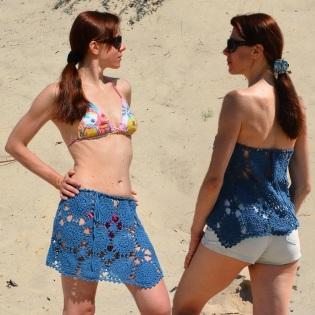 Beach crochet top/skirt PATTERN for sizes S-2XL