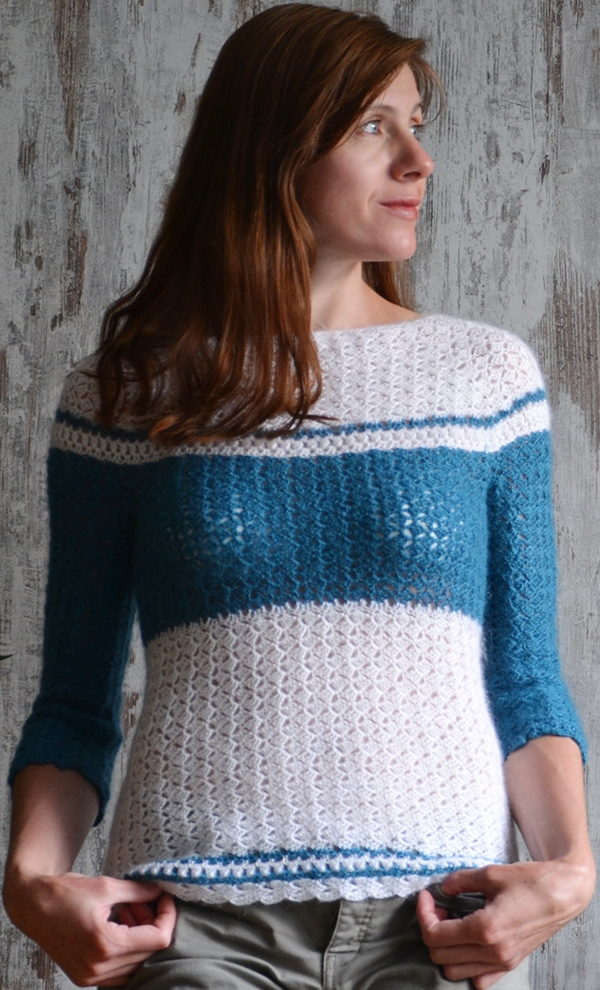 238ef1255c2a The sporty chic sweater crochet pattern is available here