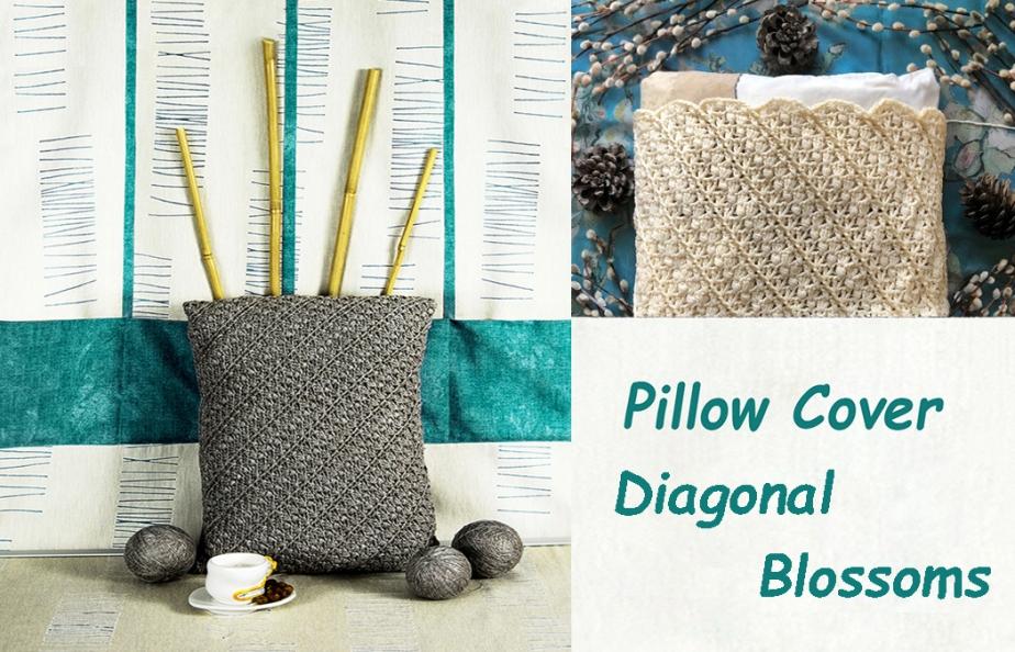 DIAGONAL BLOSSOMS: Crochet Pillow CoverPattern